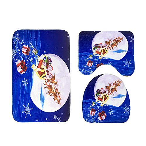 JPJ(TM) New❤Bathroom Cover❤3pcs/Set Christmas Creative Suction Grip Bath Mat Bathroom Kitchen Carpet Doormats Decor (F) by JPJ(TM) _Christmas products