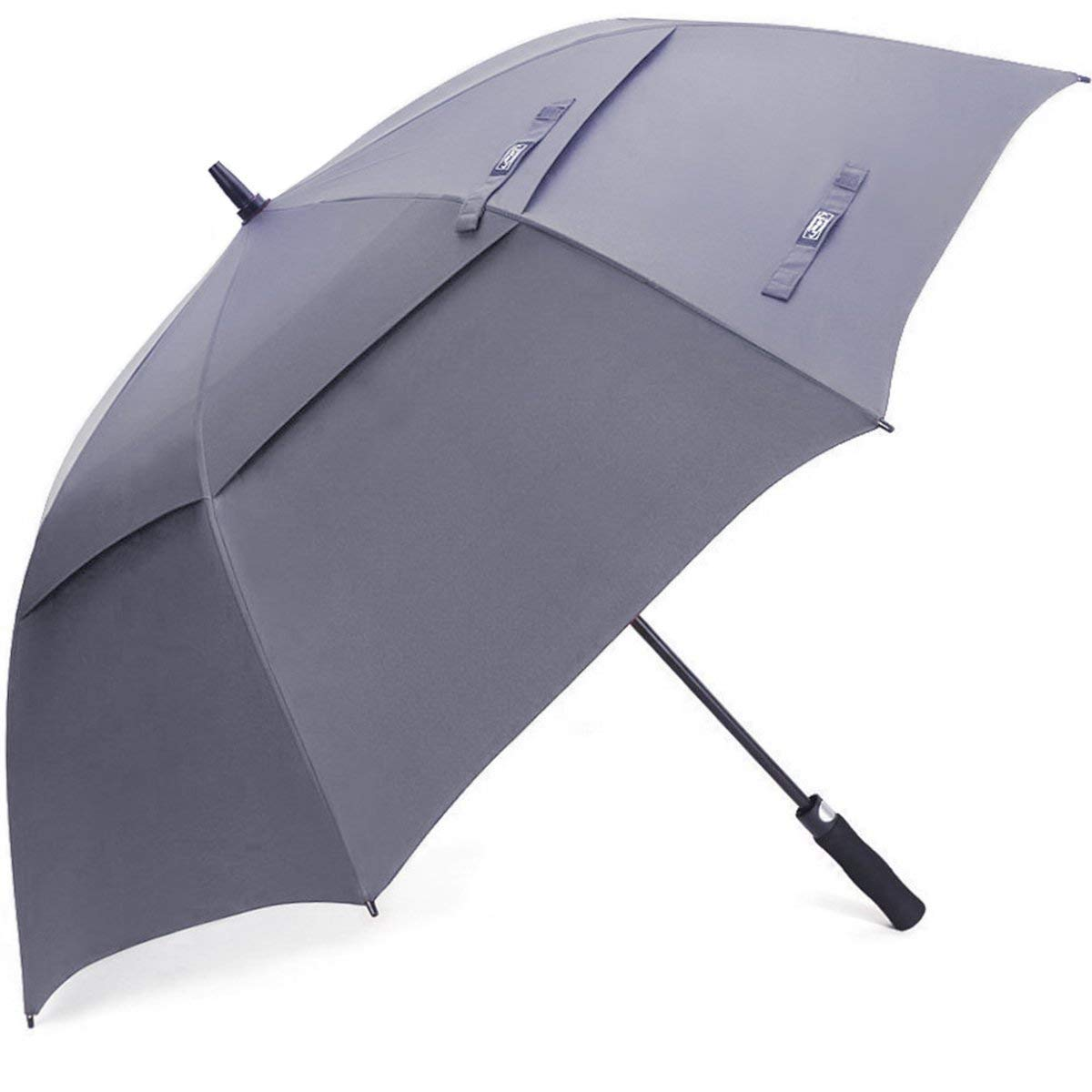 G4Free 54 Inch Semi-Automatic Open Golf Umbrella Extra Large Oversize Windproof Double Canopy Vented Waterproof Stick Umbrellas Gray