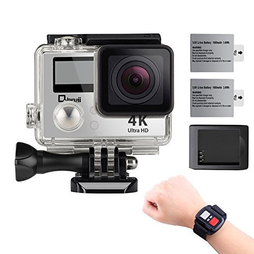 4K Wifi Sports Action Camera,Underwater Camcorder Qipexeii Double Screen Sony Sensor 16MP 100 Feet Waterproof 170° Wide Angle With 2.4G Remote Control,2 Pcs 750mAh Rechargeable Batteries (Silver) by Qipexeii