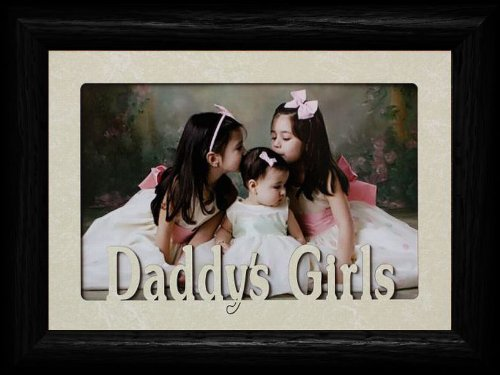 5x7 DADDY'S GIRLS ~ Landscape Cream Mat with BLACK Picture Frame ~ Holds a 4x6 or a cropped 5x7 Photo ~ Wonderful Keepsake Gift to Dad for Christmas or Birthday!