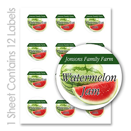 Fruit Jam Jelly/Personalized Name Round Mason Jar Labels (Watermelon, 20 Sheets/240 (Lipstick Red Salsa)