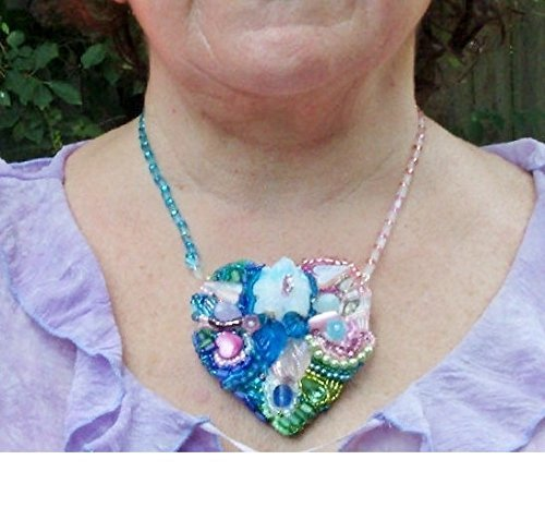 You Shall Reside in the Garden of My Heart. Beaded Heart Necklace/Brooch with Carved Opalite Flower Focal Approx. 400 Beads by Hand.