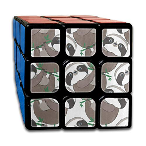 Rubiks Cube Watercolor Sloth Tree Leaf Cool Speed Cube 3x3 Smooth Magic Square Puzzle Game Black