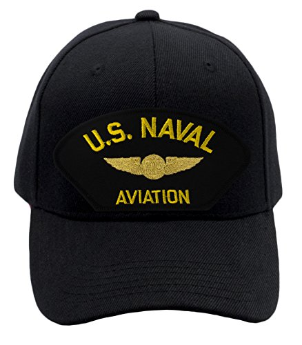 Patchtown US Naval Aviation - Air Crew Hat/Ballcap (Black) Adjustable One Size Fits Most Aviation Cap