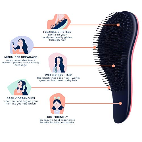 Crave Naturals Glide Thru Detangling Brush for Adults & Kids Hair – Detangler Hair Brush for Natural, Curly, Straight…