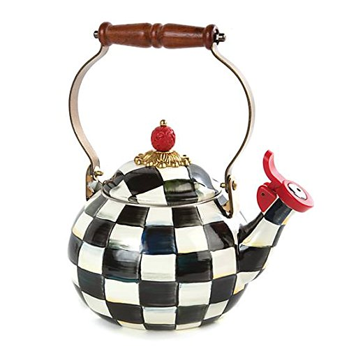 MacKenzie-ChildsWhistling Tea Kettle, Steel Enamel Courtly C