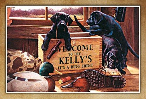 Black Labrador Retriever Puppy Personalized Gift Family Name Poster