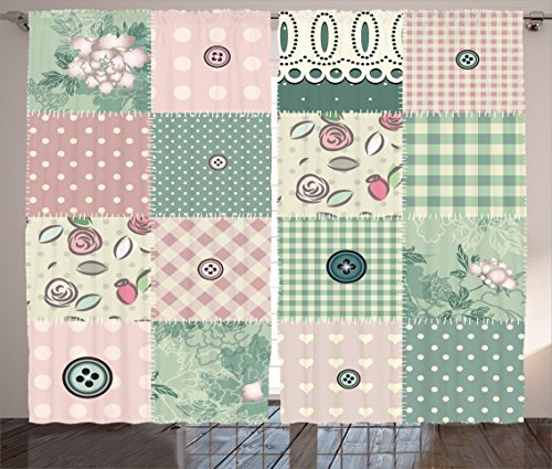 Ambesonne Farmhouse Decor Curtains, Shabby Pastel Patchwork with Button and Kitsch Polka Dots Composed Print, Living Room Bedroom Window Drapes 2 Panel Set, 108W X 90L inches, Pink - Shabby Patchwork Curtains