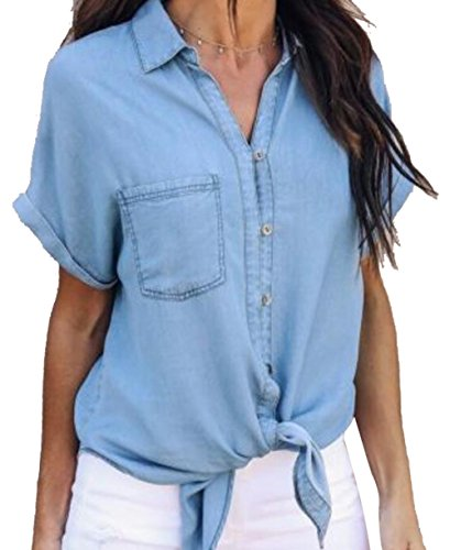 Women Fashion Sexy Button Down Short Sleeve Tie Knot Front Lapel Denim Blouse Tops Shirt Size S (Blue)