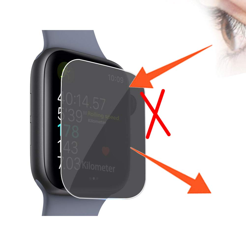 Privacy Anti-Spy Film Tempered Glass Screen Protector for Apple Watch Series 4 40/44mm (Apple Watch Series 4 44mm) by Kintaz (Image #2)