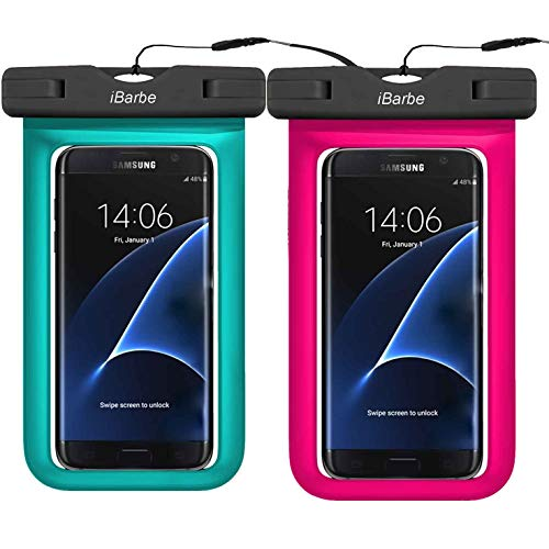 """2 Pack Waterproof Phone Case, Universal Phone Pouch Dry Bag Compatible with Phone iPhone X XS MAX XR 8 7 6 Plus 6/6S Plus,6 6S 5 5S SE,Galaxy s9 S8 S7 Edge Diagonal up 6"""",Swimming,Diving-Rose+SkyBlue"""