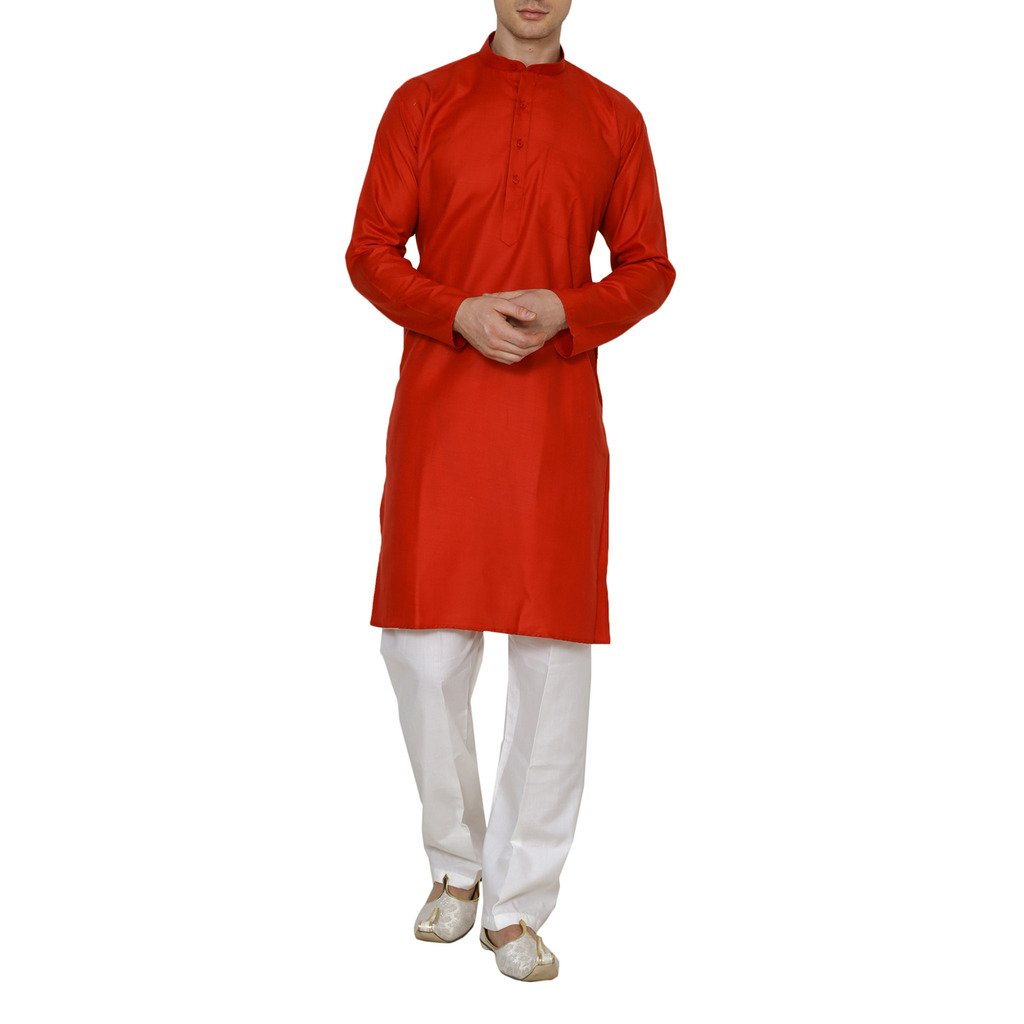 Royal Kurta Men's Fine Cotton Kurta Pyjama Set 44 Red