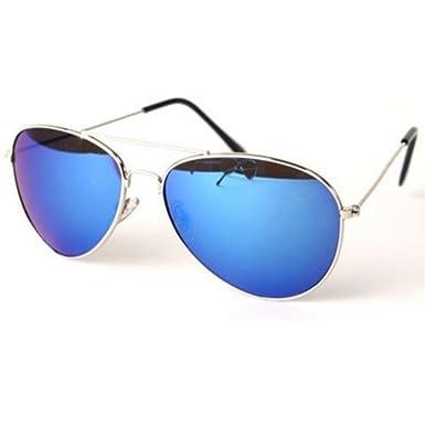 30a8ae3c0e197 PURECITY© - Lunettes de soleil Aviateur Homme Femme Monture Métal Verre  Effet Miroir Bleu