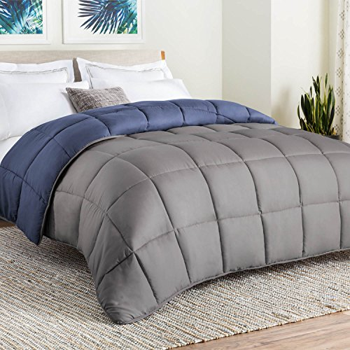 Linenspa All-Season reversible downwards method Quilted Comforter - Corner Duvet Tabs - Hypoallergenic - Plush Microfiber Fill - Box Stitched - machine Washable - Navy/Graphite - Full