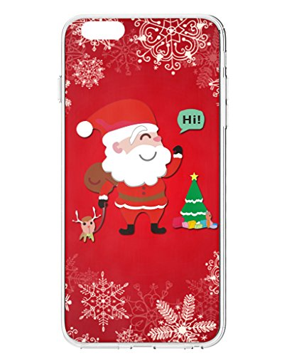 iPhone 6S Plus Back Case, UKASE Lovely Santa Claus on Red Background for 5.5 inch Apple Phone 6 Plus (2014 Version) / Apple Phone 6S Plus (2015 Version) (Designer Ornaments Christmas)