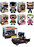 FUNKO POP! HEROES: 1966 BATMAN COMPLETE SET OF ALL 5 FIGURES INCLUDING THE BATMOBILE 2-PACK