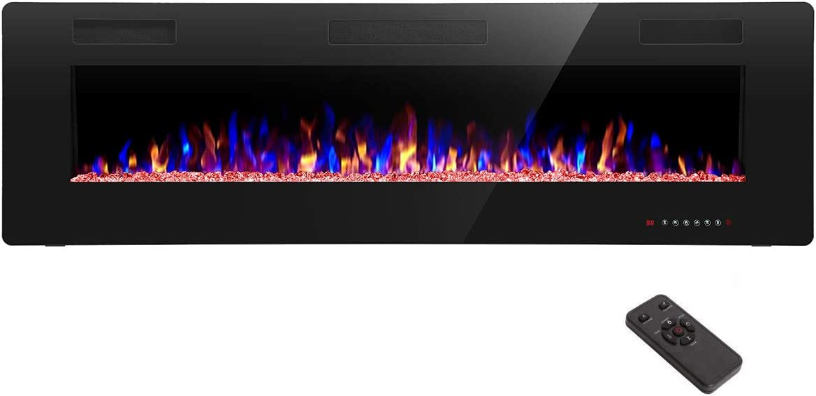 R.W.FLAME 60 inch Recessed and Wall Mounted Electric Fireplace, Ultra Thin and Low Noise,Fit for 2 x 6 Stud, Remote Control with Timer,Touch Screen,Adjustable Flame Color and Speed