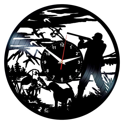 Duck Hunting Clock Cool Vinyl Record Wall Art Decor Bird Hunter Gifts for Dad