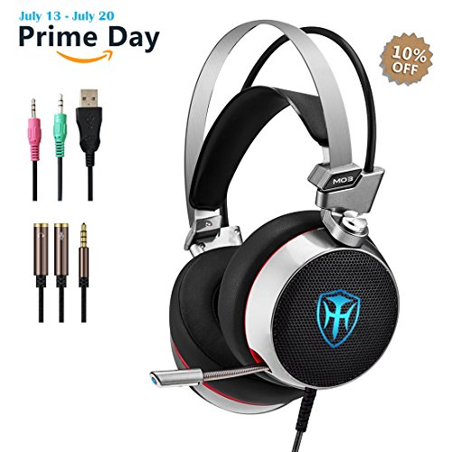 Pc Gaming Headset With Mic  3D Surround Sound Headphones With 50Mm Speaker Driver  Noise Cancelling Over Ear Headsets With Led Light   3 5Mm Connection For Ps4  Xbox One Controller  Laptops Smartphone
