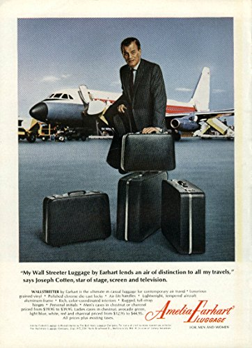 Joseph Cotten for Amelia Earhart Wall Streeter Luggage ad (Amelia Earhart Luggage)