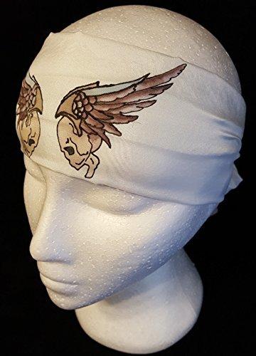 Skulls & Wings 8x54 8mm Habotai Silk Headband Hand Painted/Dyed using the French Serti Technique