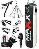 12 pcs punchbag set blk/White bag gloves , wall bracket gloves & more bag size 3ft , 4ft ,5ft (5ft...