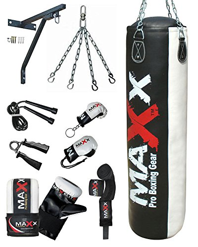 12 pcs punchbag set blk/White bag gloves , wall bracket gloves & more bag size 3ft , 4ft ,5ft (5ft Bag)