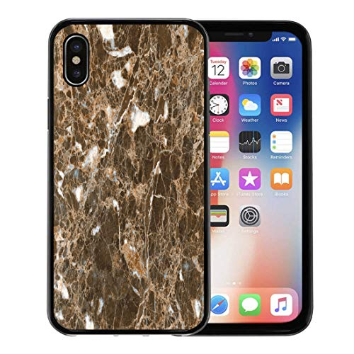 Semtomn Phone Case for Apple iPhone Xs case,Beige Travertine Beautiful Emperador Marble Brown Nautral Stone Gray Wall for iPhone X Case,Rubber Border Protective Case,Black