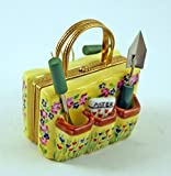 Authentic French Porcelain Hand Painted Limoges box Garden Bag with Tools and Seeds