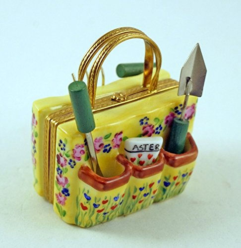 Authentic French Porcelain Hand Painted Limoges box Garden Bag with Tools and Seeds by Authentic Limoges Boxes