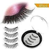 #10: Magnetic False Eyelashes,AOFU 3D Fiber Reusable Lashes ,Long Lasting Natural and Bushy Professional Eye Lash (4 Pcs)