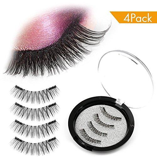 Magnetic False Eyelashes,AOFU 3D Fiber Reusable Lashes Extension,Long Lasting Natural and Bushy Professional Eye Lash (4 Pcs)