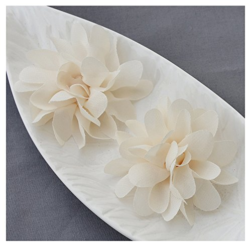 wer Soft Chiffon Fabric Silk Rose Flower Bridal Wedding Garter Baby Hair Comb Headband Shoe Clip Pin SF108 (Ivory Silk Chiffon)