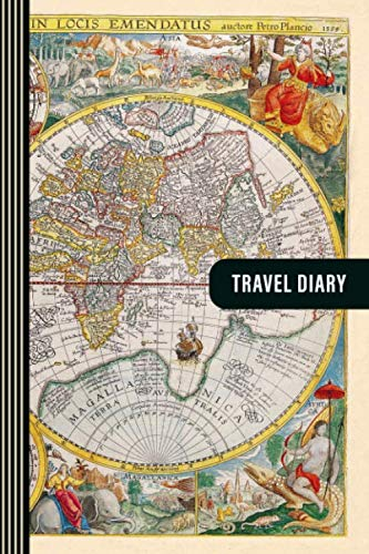 "Travel Diary: Guided Journal Log Book To Write Fill In - 52 Famous Traveling Quotes, Daily Agenda Time Table Planner - Travelers Journaling Notebook 6x9"" Lightweight - Antique Vintage World Map Atlas"