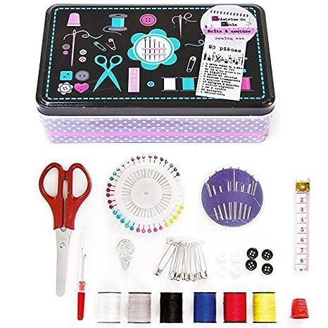 Set de costura-Kit de costura, 93 unidades con caja metálica: Amazon.es: Hogar