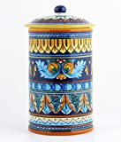 Hand Painted Italian Ceramic 11-inch Canister Geometrico 38E - Handmade in Deruta
