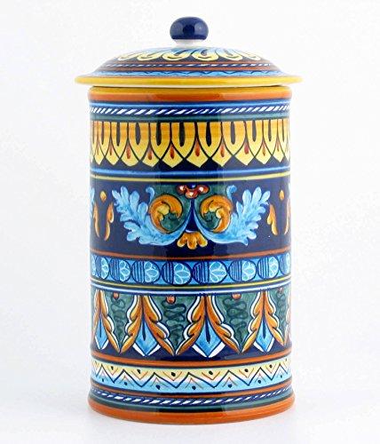 Hand Painted Italian Ceramic 11-inch Canister Geometrico 38E - Handmade in Deruta by Eugenio Ricciarelli