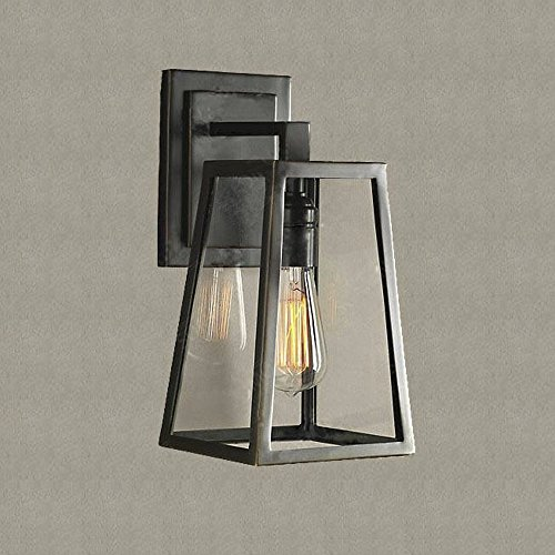 SUSUO Lighting Outdoor Wall Sconce Simple Design Rectangular Lantern Light Fixture Glass Wall Lights Lamp Bronze Finish
