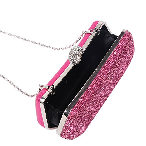 Party Damara Damara Black Rhinestones Womens Front Covered Evening Rhinestones Bag Covered Womens nU1zU