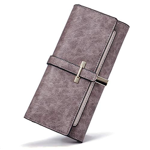 Long Leather Ladies Wallet - Wallet for Women Oil Wax Leather Slim Clutch Long Designer Trifold Ladies Credit Card Holder Organizer Gray