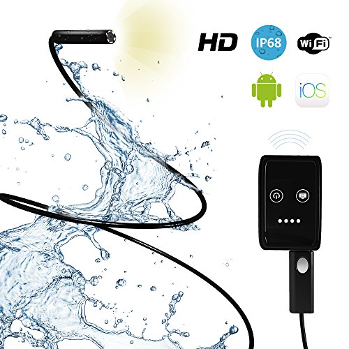 Inspection Camera with Light - Best Endoscope Inspection Camera with Extension Cable - Works with iPhone and Android App - Ideal Waterproof Smartphone Borescope Snake Inspection Camera by Onyxia