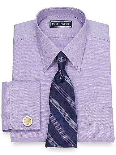 Paul Fredrick Men's Pinpoint Straight Collar French Cuff Dress Shirt Lavender 16.5/35 (Paul Trim Fredrick)