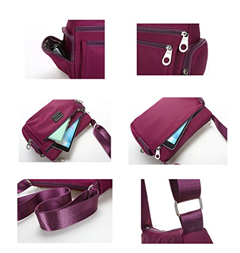 Bag Shopping Purple Weekend Nylon Lonson for Handbag Crossbody Shoulder Bag Women v68Yq