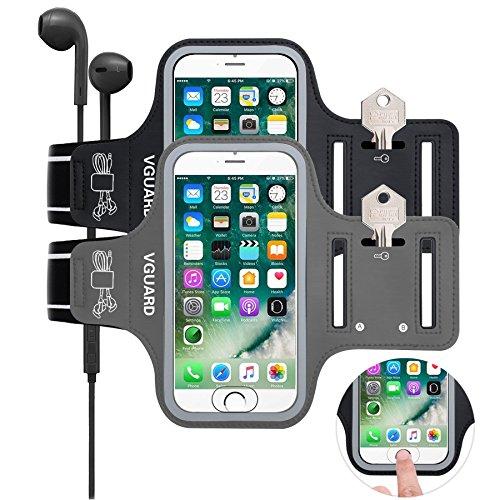 VGUARD Brazalete Deportivo para 6.2 Pulgados iPhone X/8 Plus/7 Plus [ID Touch Compatibles] Caja del Brazalete Antideslizante para Deportes con Soporte para Llaves, Cables, Tarjetas y Banda Reflectante Gris
