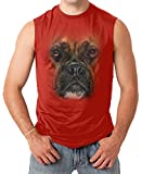 Big BRINDLE BOXER 3D Face Men's SLEEVELESS T-shirt Tee (Large, RED)