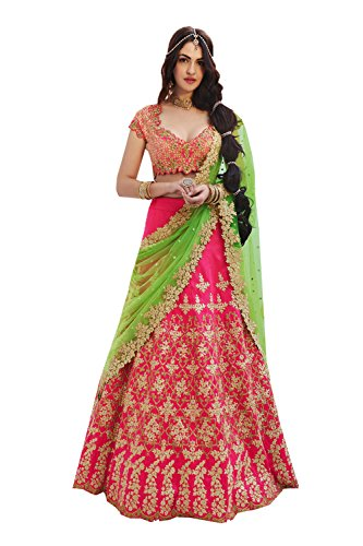 Da Facioun Womens Silk Fabric Pink Pretty Circular Lehenga Style 83826