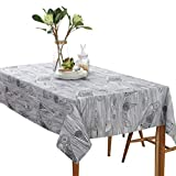 Spring & Summber Tablecloth, Cotton Linen Dust-Proof Table Cloth Washable Tablecloths Home Decoration for Outdoor or Indoor, Parties, BBQs, Family Gatherings, 55x55 Inch, Art Wood Grain