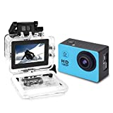 Yuntab Action Camera Sport DV 1080P Mini 30-Meter Waterproof 2 inch TFT LCD HD 5MP Helmet Camera Cam Extreme Action Camcorder With Battery, Charger and Accessories (Blue)