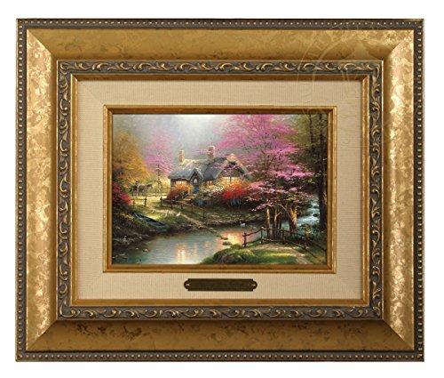 Thomas Kinkade Cottage - Thomas Kinkade Stepping Stone Cottage Brushwork (Gold Frame)