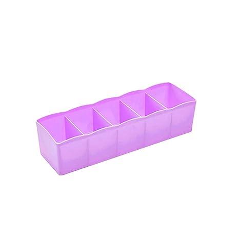 OUNONA Multi-función Cinco Redes Ropa interior de plástico Calcetines Corbatas Separador Organizador Caja Escritorio